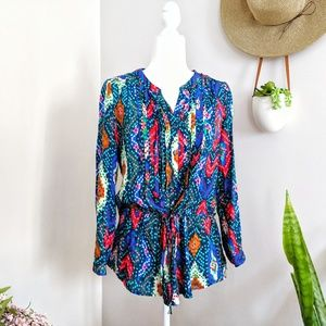 Maeve Anthropologie Rainbow Pixel Cinched Blouse 4